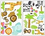 Samunshi® 25-teiliges Safari Tiere Wandtattoo Set Giraffe Wandsticker Löwe Kinderzimmer