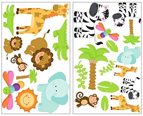 Samunshi® Safari animaux Sticker mural Set de 25 Pièces de girafe Sticker mural Lion Chambre d'enfant Jungle,