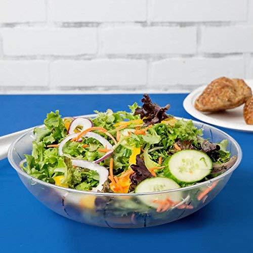 Set mit 2 flachen Mehrzweck-Salatschüsseln aus Kunststoff, 3570 ml   flache Servierschüsseln   Schüssel-Set – transparent – 3,5 Liter