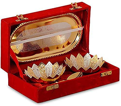DESIGNOX Metal Solid Bowl Gift Set - Set of 5, Red