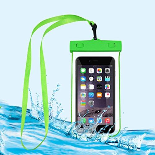 Kun Peng Shop Étui Tactile Universel Sac imperméable à l'épreuve du téléphone Portable de 5,5 Pouces scellé A+ (Couleur : Firefly Green)