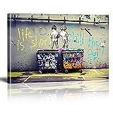 Banksy Decoración de pared Figura colorida Calle Graffiti Póster Impresión Pinturas al óleo Reproducción de lienzo Cuadro de arte de pared Decoración para el hogar 80x130cm (32x51in) Marco interior