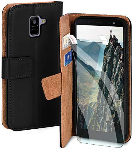 moex Handyhülle für Samsung Galaxy A8 (2018) - Hülle mit Kartenfach, Geldfach & Ständer, Klapphülle, PU Leder Book Hülle & Schutzfolie - Schwarz