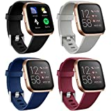 Maledan Bands Compatible with Fitbit Versa 2/Versa Lite SE/Versa Smart Watch, 4 Packs Soft Silicone Sport Strap Replacement Band for Women Men, Black/Blue/Gray/Wine Red Small