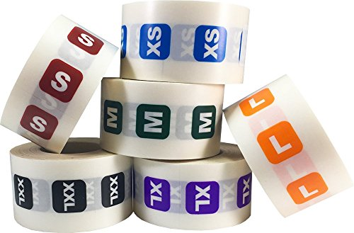 XS-XXL Clothing Size Strip Labels for Retail Apparel 1.25 x 5 Inch 1 Roll Per Size 125 Adhesive Stickers Per Roll 750 Adhesive Stickers