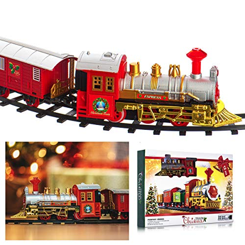 LIVIVO Deluxe 12pc Christmas Train Track Set with...