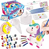DIY Slow Rising Painting Squishies Kit - Blank Dessert Ice Cream Squishies Bulk Arts Crafts Kits for Kids Sweet Creamy Scented Soft Stress Relief Top Christmas Gift Craft with Hand Wrist Band