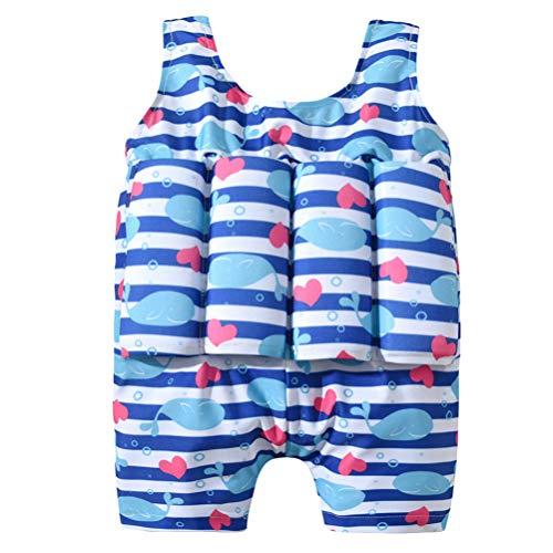 CLISPEED Kinder Badeanzug mit Schwimmhilfe Einteilige Float Suit Anzug Sommer Strand Schwimmanzug Kleinkinder Badebekleidung Auftrieb Schwimmweste für Baby Mädchen