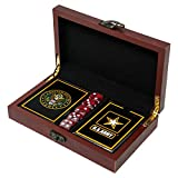 Show off your Army pride on game night with our professional quality US Army playing card set. Great for any US Army game. Beautifully stained wooden box with 3D Metal US Army emblem – Makes a great Army gift Army Gifts - The card backs feature the A...