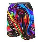 huyt Boys Swim Trunks Quick Dry Casual Board Shorts Elastic Waist 3D Cloud Print Summer Surf Beach Pants