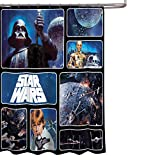 Star Wars Classic Saga 72' x 72' Fabric Shower Curtain With Darth Vader, Luke Skywalker, R2-D2 & C-3PO