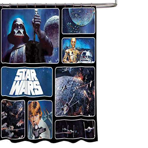 "Star Wars Classic Saga 72"" x 72"" Fabric Shower Curtain With Darth Vader, Luke Skywalker, R2-D2 & C-3PO"