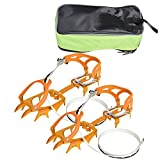 VGEBY Crampons 1 Pair 14 Teeth Ice Crampons Anti Slip Shoe Grips Spikes Cleats for Outdoor Snow Hiking Climbing(Orange)
