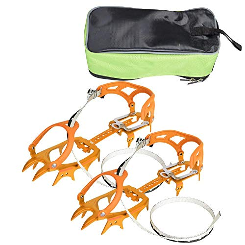 Alomejor Hielo Grips De Nieve 14 Dientes Cadena De Crampones Cubierta Antideslizante para Zapatos Senderismo (Orange)