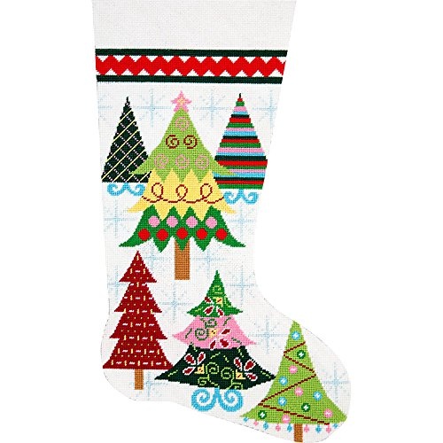Alice Peterson Home Creations Holiday Edition Needlepoint Stocking Kit- Merry Christmas Trees- Large, Deluxe Size