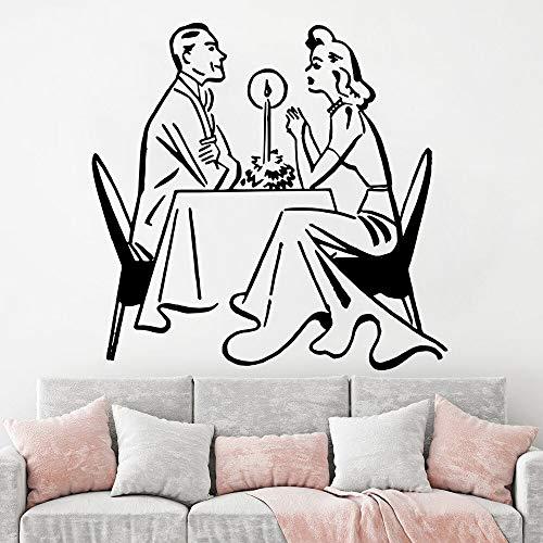 wZUN Adhesivo de Pared para Cena con luz de Velas para Aniversario de Boda, decoración del hogar, Cocina, Vinilo, Restaurante, cafetería, calcomanía 50X52cm