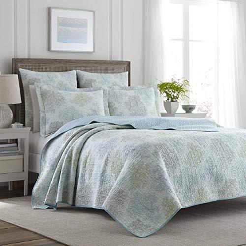 Laura Ashley Home Saltwater Collection Steppdecken-Set, ultraweich, für alle Jahreszeiten, wendbar, stilvolle Decke mit entsprechenden Kissenbezügen, Doppelbett, Blau
