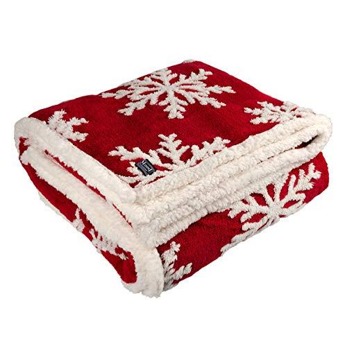 dhal Kuscheldecke Winterdecke Elch Schneeflocke Rot Weiß 180x130 cm Decke Tagesdecke Wohndecke Plüschdecke Winter (Rot-Weiß (Schneeflocke))