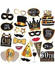30-års födelsedags fotobås rekvisita, 24 delar smutsiga trettio fest dekorationsmaterial för hans och henne, roliga 30-årsdag fotobås bakgrundsskyltar för män och kvinnor
