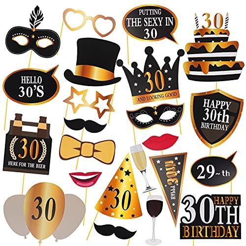 30° compleanno Photo Booth oggetti di scena, 24 pezzi Dirty Thirty Party Decoration Supplies per lui e per lei, divertente trentesimo compleanno Photo Booth Backdrop segni per uomini e donne