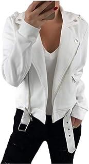 neveraway Womens Skinny Zip Bomber Solid Jacket Lapel Jackets Short Coat