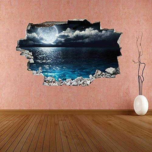 Etiqueta De La Pared 70D -Luna vista al mar - Decoracion Habitacion, Decoracion Paredes Dormitorio, Decoracion Habitacion Juvenil, Vinilos Pared, Posters para Pared, Decoracion Hogar 80x120cm