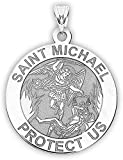 St Michael Pendant - Saint Michael Pendant Religious Medal Necklace - 1 Inch - Size of a Quarter in Sterling Silver - Includes 18 inch Chain. (Medal-Only)