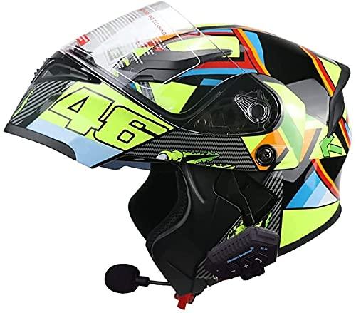 BFLAKWM Casco de Moto Modular Bluetooth Integrado,Cascos De Motocicleta con Visera Doble ECE/Dot Homologado Adultos Hombres Mujeres Cascos Moto con un Micrófono Incorporado E,L=57~58cm