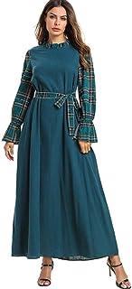 LJMSL Abayas Elegant Islamic Plaid Abaya Casual Maxi Dress Swing Loose Kimono Long Robe Gowns Jubah Ramadan Middle East Ei...