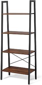 COSTWAY Estantería de 4 Niveles con Marco de Metal Estante de Almacenamiento Diseño Industrial Librería Escalera para Oficina Salón Escritorio