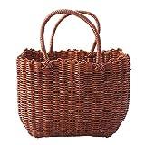 Vigcebit - Cesta de picnic de mimbre tejida a mano con asas para picnics, fiestas y barbacoas, plástico tejido a mano que durará