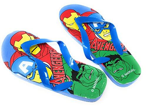 Les Avengers Tongs Enfant garçon Marvel Iron Man, Captain America et Hulk Bleu du 24 au 34 (Numeric_24)
