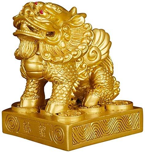 DFGER Feng Shui Riqueza Prosperidad Resina General Pi Xiu/Pi Yao Estatua, Mejor decoración for Oficina o el hogar atraer la Riqueza y Buena Suerte