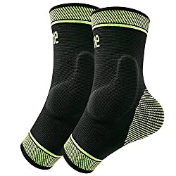 Black and Yellow Protle Ankle Brace Compression Support Sleeves with Silicone Gel