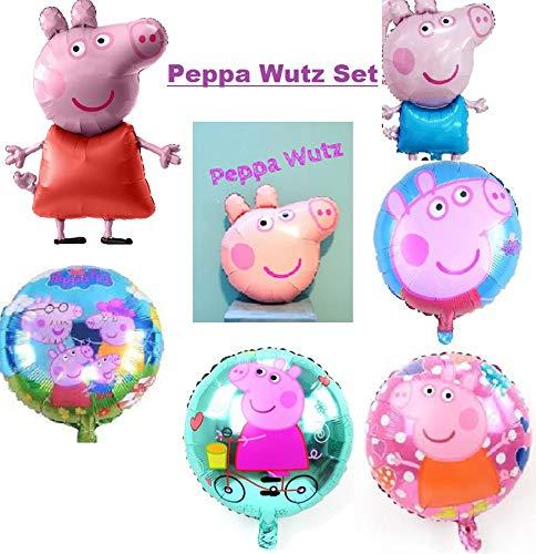 Peppa Wutz Folienballon Kindergeburtstag 78x76cm XL Ballon Geburtstag Schwein Riesiger Peppa-Schwein-Charakter-Folien-Ballon - Kinderparty-Ballone