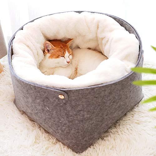 Guomaomao Huisdier Bed Nest Kat Mand Zelf Opwarming Slaapzak Halfgesloten Honden Honden Huizen Pluche Kussen, S(28X28X23CM)