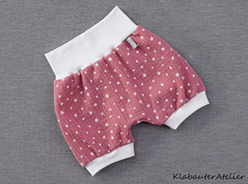 Pumphose kurz Sommer Musselin Altrosa Sterne Handmade Babyhose Mädchen 56/62,68/74,80/86/92,98/104,110/116