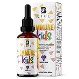 Suplemento Sistema Inmune liquido en gotas para niños a partir de 1 año con Vitamina C, D3, Zinc y Echinacea de 60 Tomas. Immune Kids B life (Uva)