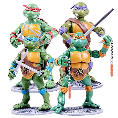 t Teenage Mutant Ninja Turtles Anime Figuren 4 Stück Spielzeug Spielfigur Figur Leo Raph Donnie Mikey TMNT Collectible Figuren Puppe Geschenk für Kinder 4 PCS-17 cm