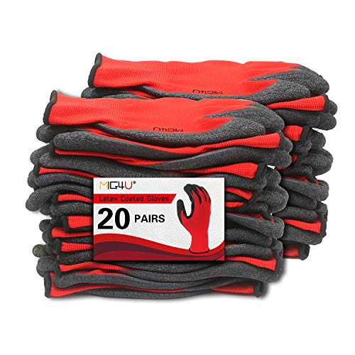 MIG4U Latex Coated Work Gloves with Extra Grip for Yard work, Gardening, Construction, Home Improvement, Warehouse,Red Medium 20 PAIRS