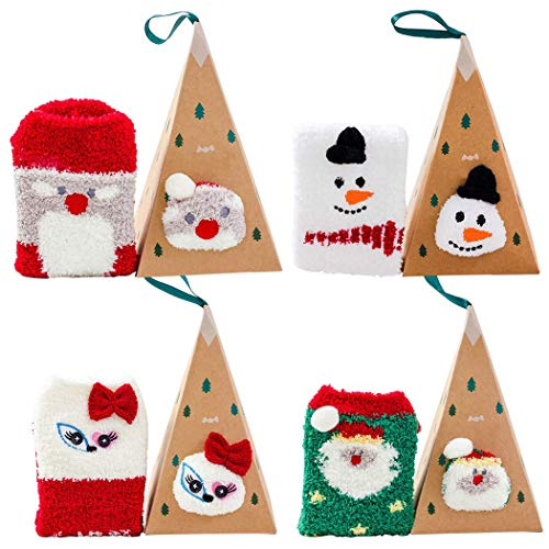 Bageek Weihnachtssocken, 4Paar Weihnachten socken Damen Weihnachtsmann Schneemann plüsch socken Weihnachtssocken Geschenk Thermal Socken Set weihnachtssocken Set Winter Socken