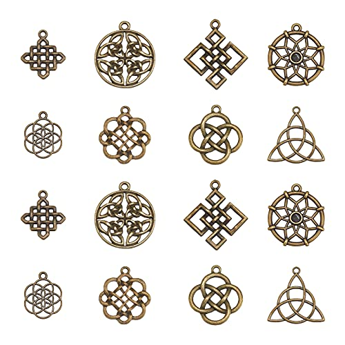 PH PandaHall 8 Styles Celtic Knot Charms, 48pcs Chinese Knot Cross Pendants Tibetan Yoga Flower Geometry Charms for DIY Bracelet Necklace Jewelry Making