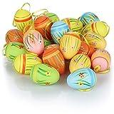 com-four 24x Oeufs de Pâques colorés à Suspendre - Décoration de Pâques avec Motifs Floraux - Décoration d'oeufs de Pâques en différentes Couleurs comme décoration de Pâques
