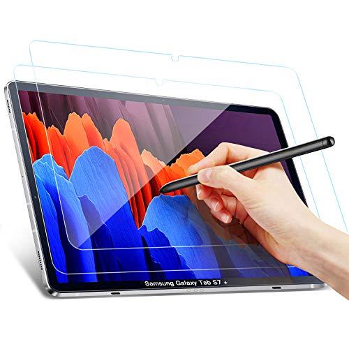 Benazcap Panzerglas Schutzfolie für Samsung Galaxy Tab S7+ 12.4 Zoll 2020, Anti-Bläschen, Anti-Kratzer, Gehärtete Displayschutzfolie Schutzfolies für Samsung Galaxy Tab S7 Plus, 2 Stück