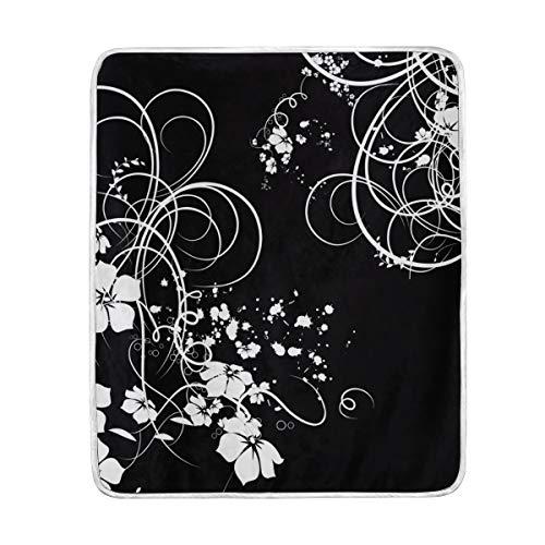 My Daily Flower - Manta de microfibra de poliéster, diseño de espirales, color blanco y negro