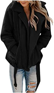 🌟 Sherostore 🌟 Women's Coat Lapel Faux Fur Shearling Fuzzy Fleece Zipper Coats Warm Winter Oversized Outwear Jackets