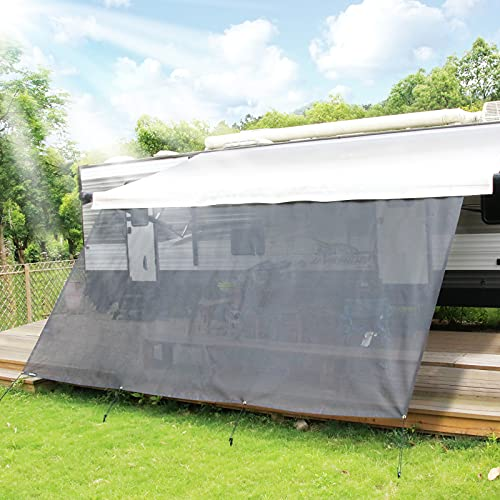 RVINGPRO RV Awning Sun Shade, 8' X 15'3'' Black Mesh Sunshade UV Blocker Complete Kits, for RV