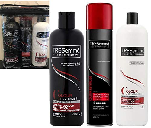 Tresemme Colour Revitalise Geschenkset Shampoo + Conditioner je 500 ml + Haarspray 250 ml – Lieferung in transparentem Kulturbeutel mit paspelierten Kanten.
