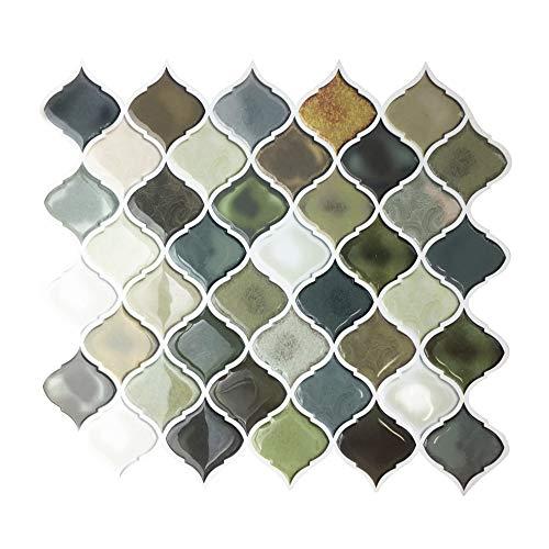やわらかい樹脂シートなのでハサミでカット可能。艶やかでぷっくりとしたタイルシールは、防水、防汚、耐熱に優れています。壁面だけでなく、窓ガラスやドアなどに貼っても◎。