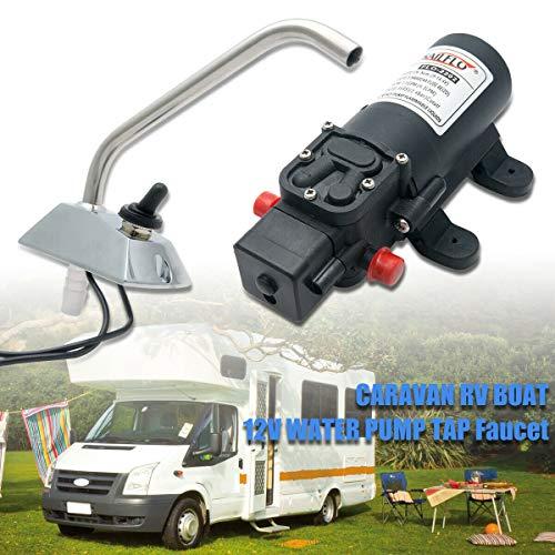 1 x pompa ad acqua 12 V per innesto, galleria elettrica, rubinetto TOPMAX per camper, barca, yacht, camper, ecc.